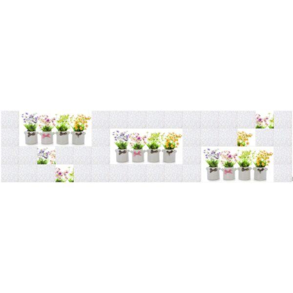 Кухонный фартук Кафель цветы