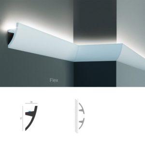 Молдинг для скрытой подсветки Tesori KF 502 изготовлен из полиуретана и имеет гибкий аналог, для применения в помещениях с выпуклыми и вогнутыми стенами. Профиль молдинга скругленый. Комбинируется с KF 503 / KF 503 Flexi. Конструкцией молдинга предусмотрена установка одной светодиодной ленты стандартной ширины. KF 502 также можно использовать в качестве потолочного карниза или плинтуса для натяжного потолка. Высота молдинга по стене - 75 мм. Глубина - 36 мм.