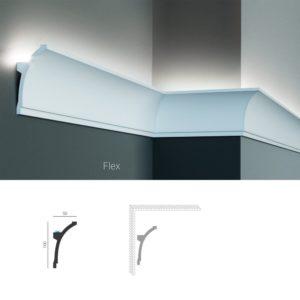 Карниз потолочный для скрытой подсветки Tesori KF 704 изготовлен из полиуретана, и имеет гибкий аналог, для применения в помещениях с выпуклыми и вогнутыми стенами. Профиль карниза скругленный вогнутый, с опорным выступом внизу. Конструкцией карниза предусмотрена установка одной светодиодной ленты стандартной ширины. Высота карниза по стене - 100 мм. Глубина - 50 мм. Длина изделия - 2000 мм.