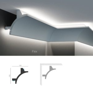 Карниз уловой потолочный для скрытой подсветки Tesori KF 706 изготовлен из полиуретана, и имеет гибкий аналог, для применения в помещениях с выпуклыми и вогнутыми стенами. Профиль карниза скругленный вогнутый, с лаконичным дизайном без выступающих элементов. Конструкцией карниза предусмотрена установка двух светодиодных лент стандартной ширины для направленной подсветки стен и потолка. Высота карниза по стене - 115 мм. Глубина - 115 мм. Длина изделия - 2000 мм.