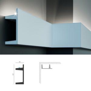 Полиуретановый молдинг с гладким профилем KF 722 - универсальный в применении элемент декоративной лепнины в современном лаконичном стиле, может быть использован не только как молдинг, но и как потолочный карниз или плинтус для натяжного потолка. Конструкцией молдинга предусмотрена установка светодиодной ленты с по одной стороны. Высота молдинга по стене - 201 мм. Глубина - 80 мм. Длина элемента - 2000 мм.